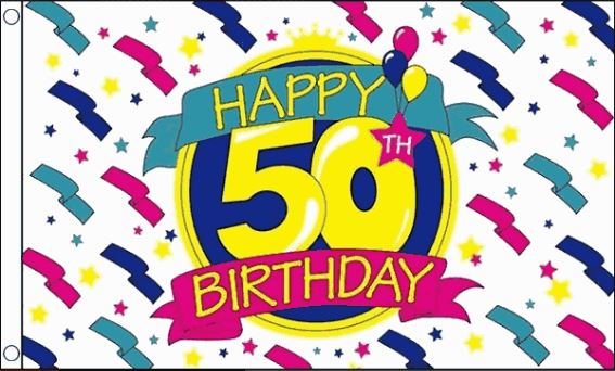Vlag Happy 50th Birthday 90x150cm