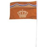 Oranje vlag met kroon 100x150cm voor koningsdag en Oranjefeest