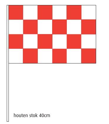 Zwaaivlag Brabant 20x30cm luxe op stevige houten stok