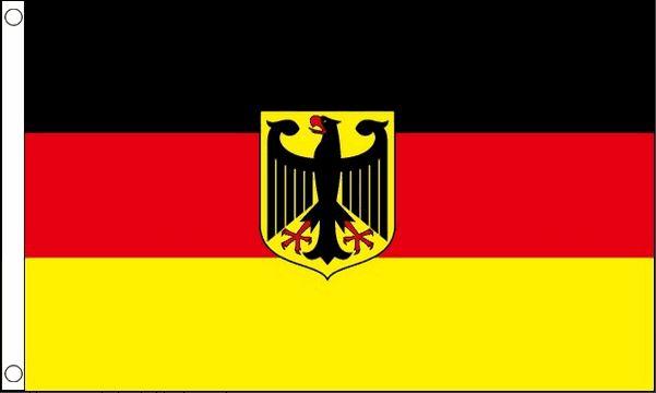 vlag duitsland met wapen (arend), duitse vlag met wapen 90x150cm