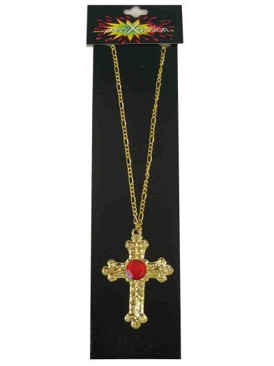 Gouden kruis van Sinterklaas hanger met rode edelsteen