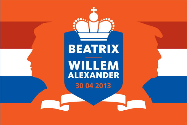 Vlag troonopvolging kroning Willem Alexander en Maxima ontwerp Dokkumer Vlaggen Centrale DVC 100x150cm