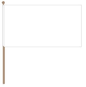 Zwaaivlag wit 30x45 met stok van 60cm