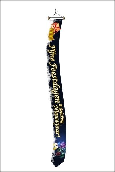 Fijne Feestdagen Wimpel krom met tekst en stokje 25x300cm