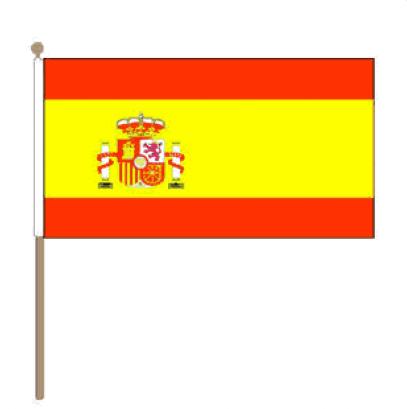 Zwaaivlag Spanje met wapen, Spaanse zwaaivlag 15x22,5cm, stoklengte 30cm