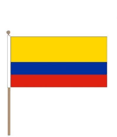 Zwaaivlag Colombia | Colombiaanse zwaaivlaggen 30x45cm stoklengte 60cm.