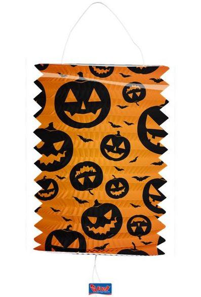 Lampion Halloween grijnzende pompoen en vleermuis