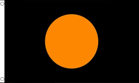 Vlag zwart met oranje cirkel, racevlag 60x90cm Best Value