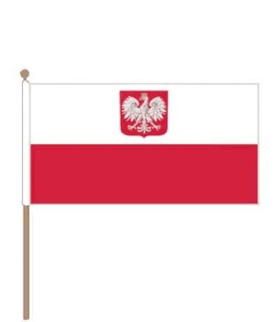 Zwaaivlag Polen met wapen 30x45cm stoklengte 60cm