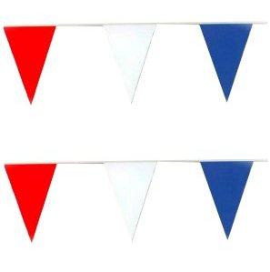 Vlaggenlijn katoen Rood-Wit-Blauw 10m
