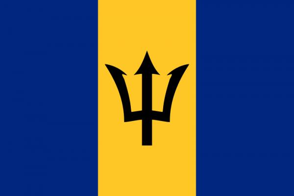 Tafelvlag Barbados met standaard
