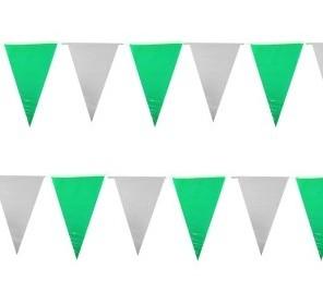 Vlaggenlijn groen wit PE wimpels