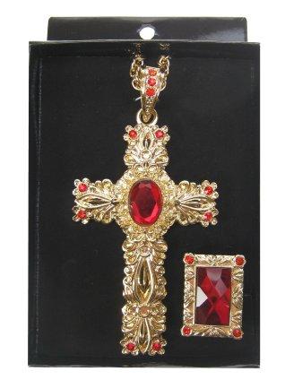 Luxe Gouden kruis en ring van Sinterklaas met rode edelsteen