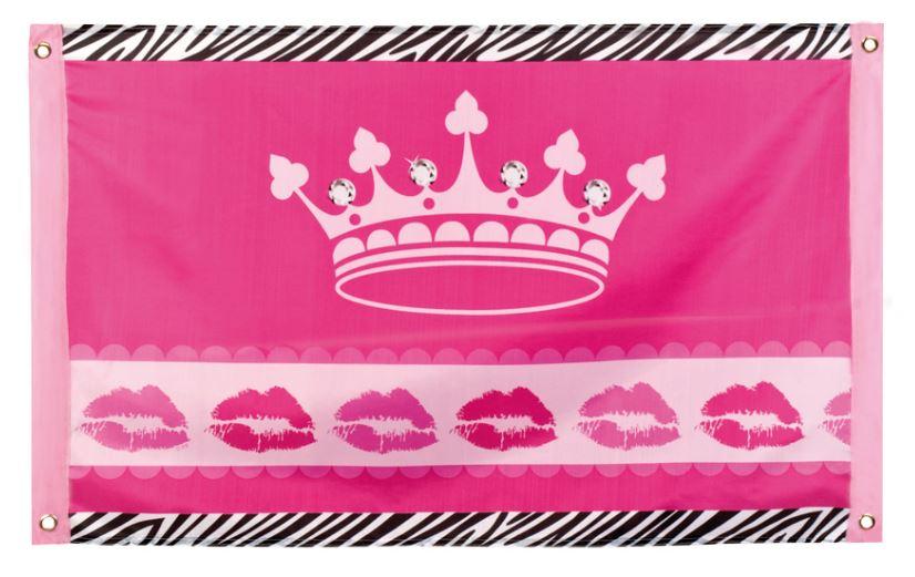 vlag, spandoek roze met kroon en zebrabies 60x90cm