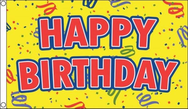 Vlag Happy Birthday Yellow 90x150cm Best Value