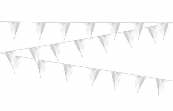 Vlaggenlijn wit stof 20m, extra zware kwaliteit
