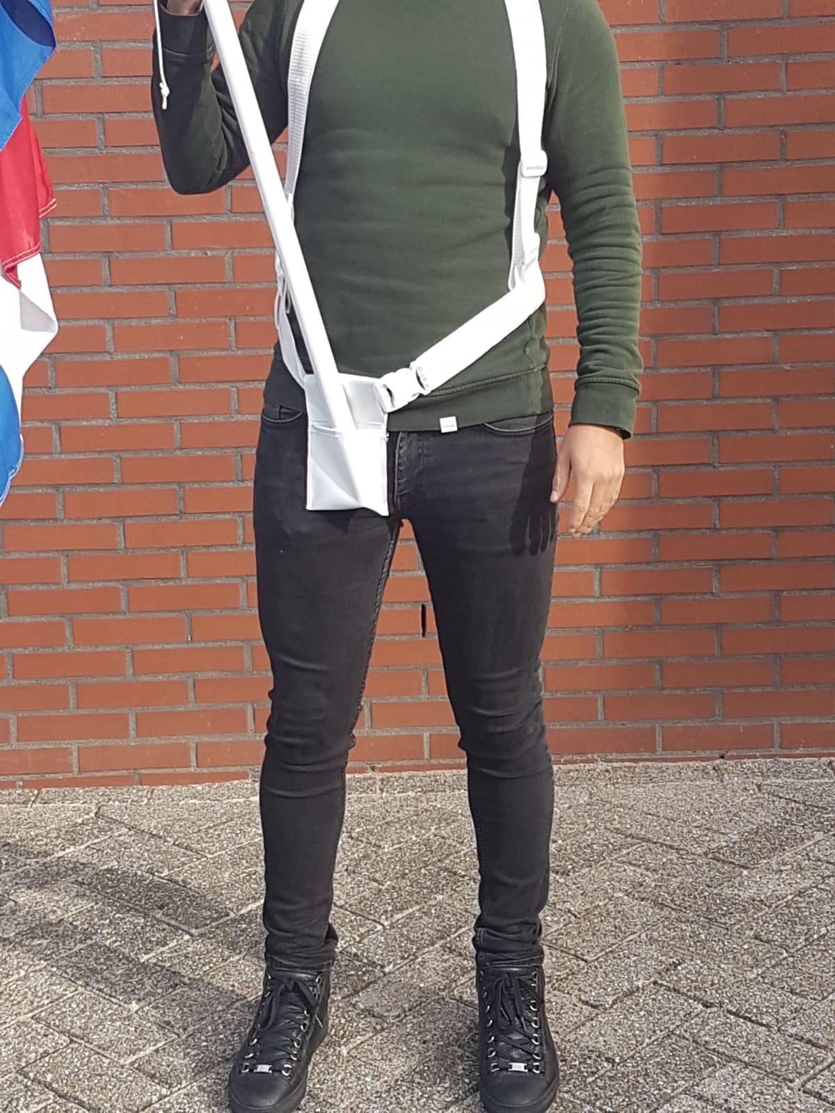 Draagriem Bandelier wit voor vlaggenstok