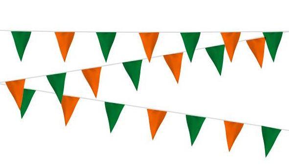 Vlaggenlijn van stevig kunststof in kleur Oranje Groen 20m
