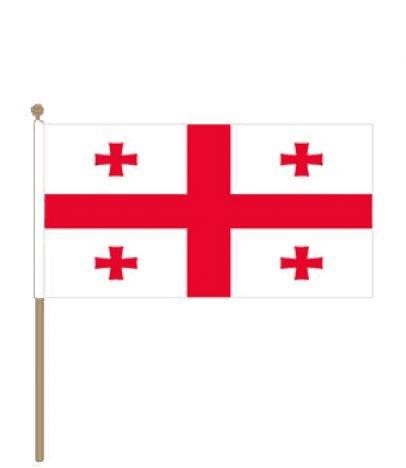 Zwaaivlag Georgie Georgische zwaaivlaggen 15x22,5cm met stokje van 30cm
