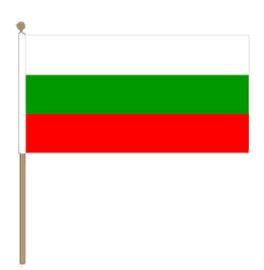 Zwaaivlag Bulgarije, Bulgaarse fanvlag 30x45cm, stoklengte 60cm
