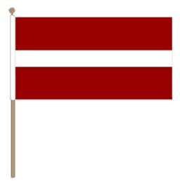 Zwaaivlag Letland, Letse zwaaivlag 30x45cm, stoklengte 60cm
