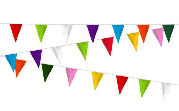 Vlaggenlijn stof vrolijke kleuren 20m extra zware kwaliteit
