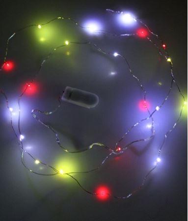 Ledsnoer lichtdecoratie 20 lampjes rood/wit/geel