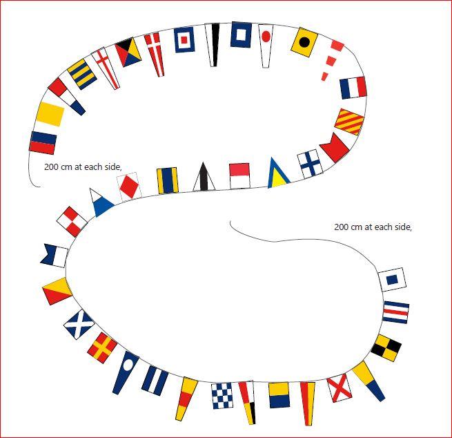 Pavoiseerlijn vlaggenlijn met alle 40 Seinvlaggen 26m XXL