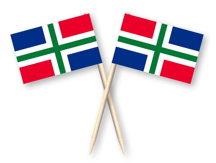 Cocktailprikkers met Groningse vlag, Groningen Kaasprikkers, 50 stuks