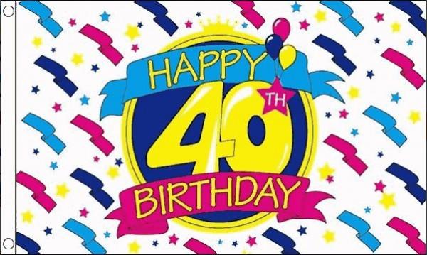 Vlag 40ste verjaardag happy birthday, 90x150cm