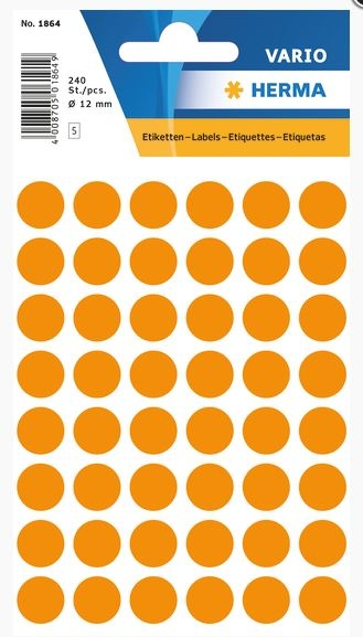 Etiketten Fluor Oranje 12mm