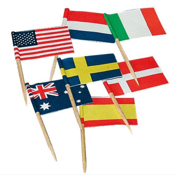 Cocktailprikkers met Internationaal vlaggen 50 stuks