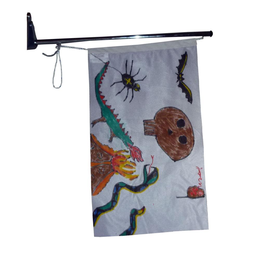 Voorbeeld vlaggenstok aan de muur