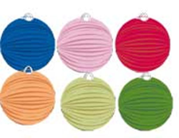 Lampion bolvorm 6 kleuren assorti rood geel groen oranje paars