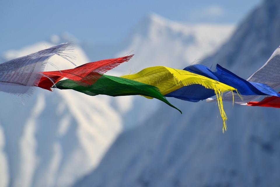 Gebedsvlaggen uit Tibet sfeerbeeld