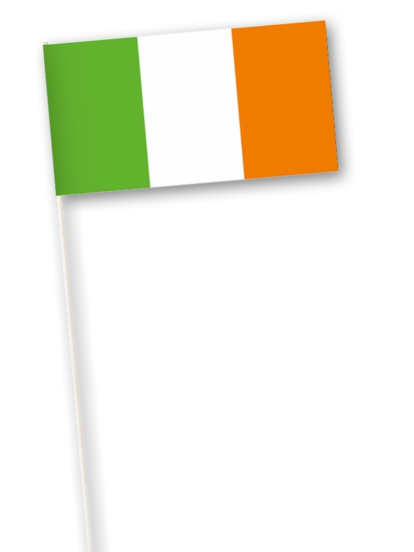 zwaaivlag Ierland, Iers zwaaivlaggetje, papier, 11x21cm