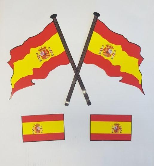 Stickers Spaanse vlag Spanje 4x met wapen
