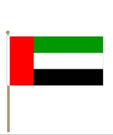 Zwaaivlag Verenigde Arabische Emiraten VAE 15x22,5cm stoklengte 30cm