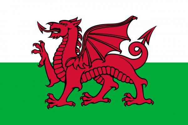 Tafelvlag Wales met standaard