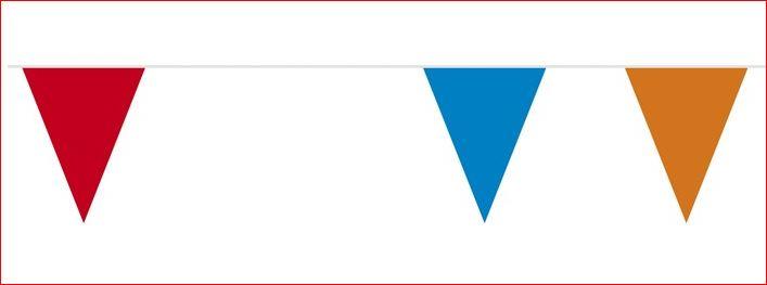 Vlaggenlijn rood wit blauw oranje 40m1 straatversiering