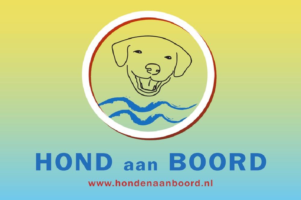 Hond aan Boord vlag 30x45cm www.hondenaanboord.nl vlaggetje