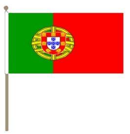 Zwaaivlag Portugal 30x45cm, stoklengte 60cm