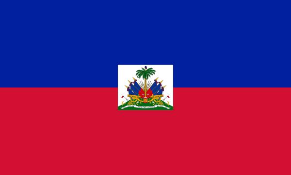 Vlag Haiti Met Wapen 100x150cm Glanspoly