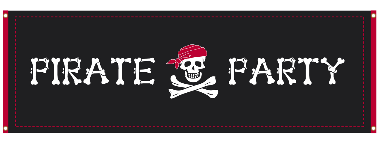 Piraten spandoek Pirate Party 2,2m Skull Island