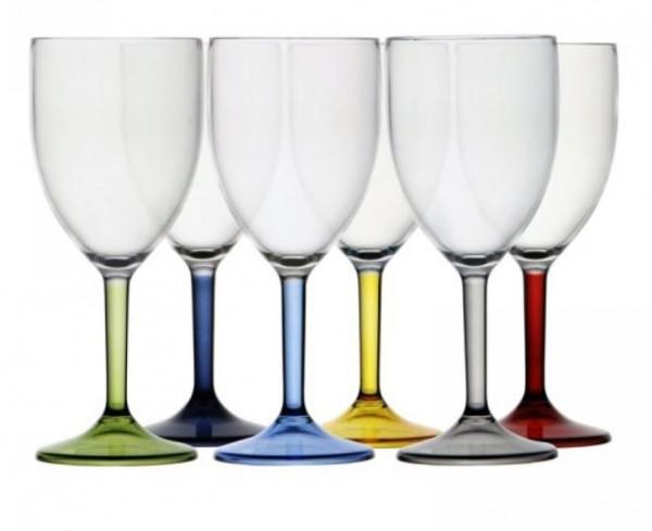 Luxe wijnglazen set 6 stuks meerkleurig