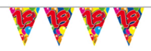 Vlaggenlijn gefeliciteerd 18 jaar ballonnen 10m