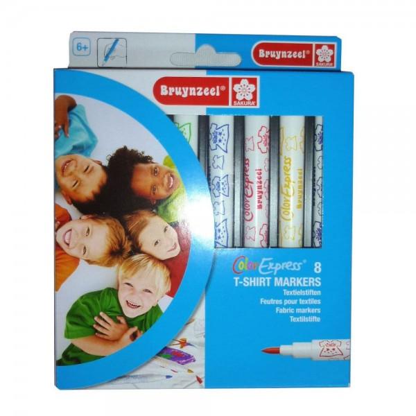 set 8 textielmarkers Bruynzeel 8 kleuren T-shirt marker