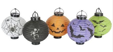 Halloween Lampionnen diameter 20cm met een led lampje, 5 stuks verschillende