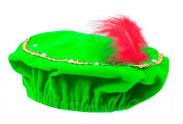 Pieten baret met LED in groen