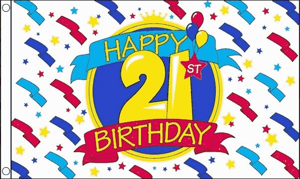 Vlag 21ste verjaardag happy birthday, 90x150cm